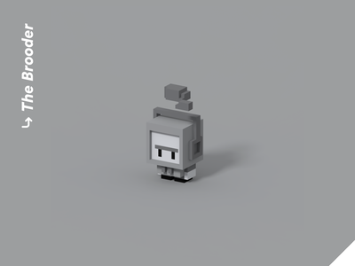 Color Personalities 06 - The Brooder 3d vr cute pixel art low poly isometric videogame blender character design personality angry stormcloud