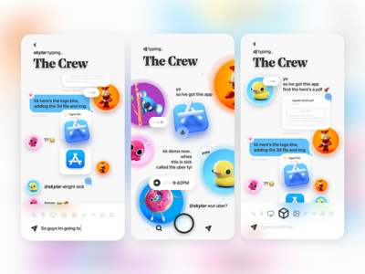 New age collab app - lineup low poly stickers imessage send collab messagingapp videogame cute isometric 3d uiux ui illustration neuomorphic newage