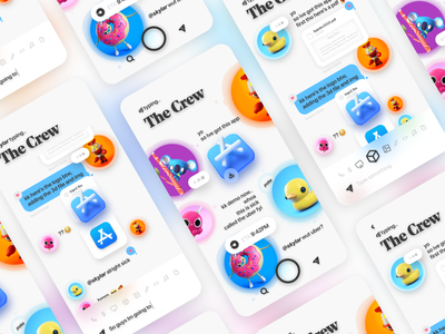 New age collab app - shot #01 neuomorphic videogame cute send iphone ui design collaboration messagingapp stickers imessage uiux ui character design 3d