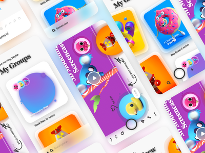 New age collab app - shot #02 neuomorphic cute collaboration send messaging app imessage uiux uidesign ui character design 3d