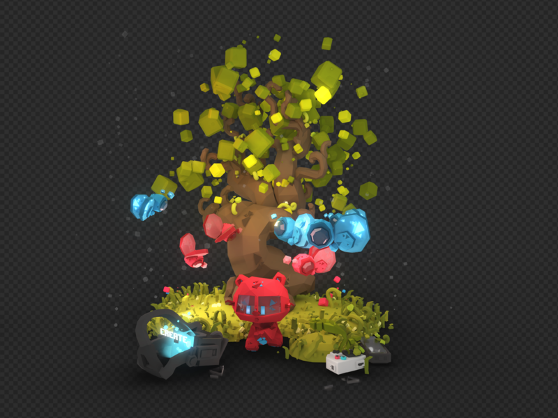 Lowpoly Tree Scene leaves tree nature butterfly ar particles animation illustration vr icon set low poly isometric videogame c4d blender character design 3d