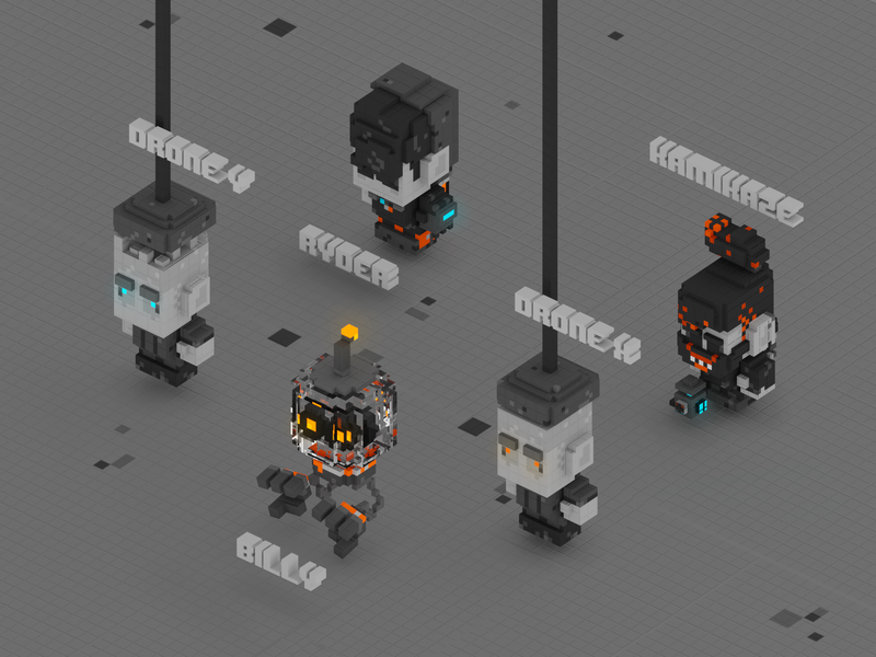 Tiltworld (World 02) - Characters pixelart robot drone boy magicavoxel voxel animation isometric low poly vr videogame c4d blender 3d character design world