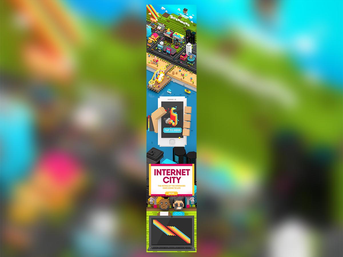 Voxel Meme City ui technology pixelart rainbow internet interwebs meme voxel art website illustration low poly isometric videogame blender c4d character design los angeles la 3d