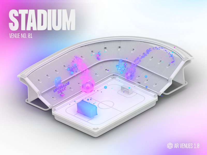 AR Venues #01 ui augmented reality art gradient cute ar vr illustration animation particles character design c4d videogame isometric low poly stadium sports architecture blender 3d