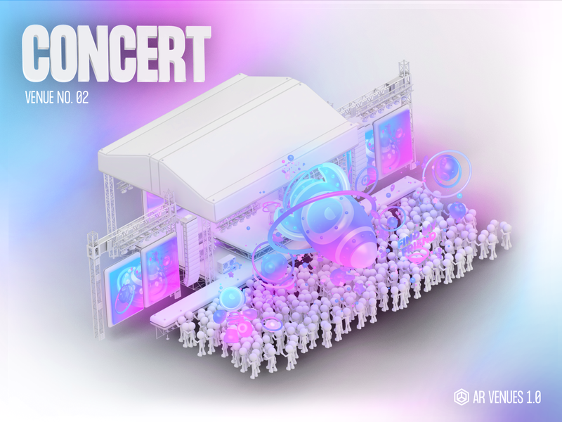 AR Venues #02 technology ar isometric illustration ufo particles spaceship space low poly character design c4d videogame 3d blender vr augmented reality concert music