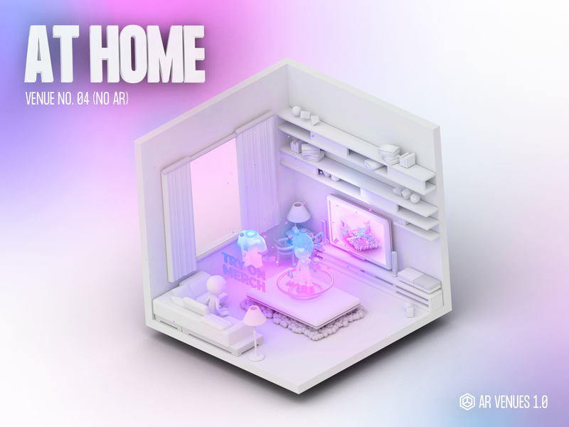 AR Venues #04 augmented reality cute technology isometric animation particles logo vr illustration low poly 3d character design c4d videogame blender music concert merch room home