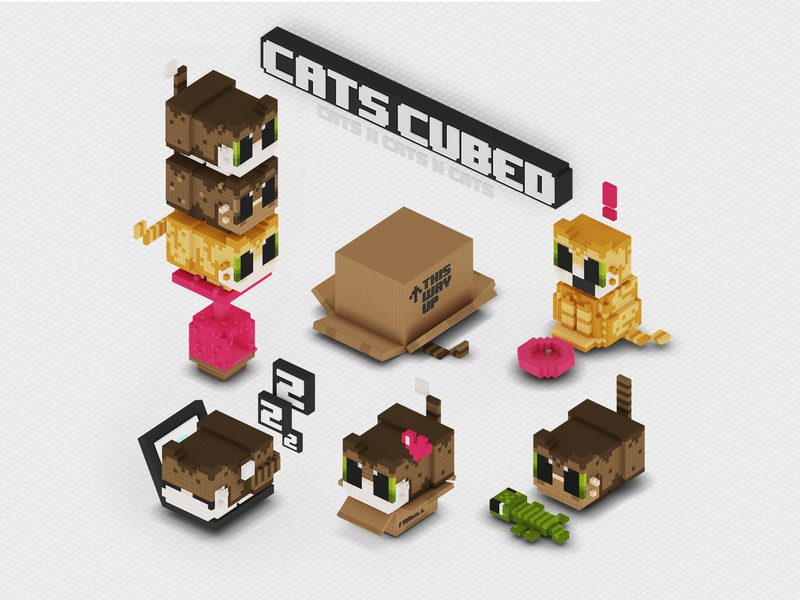 CatsCubed voxel cats stickers ios minecraft cat in box fat cat funny cats kitten cute c4d videogame isometric low poly character design 3d voxelart