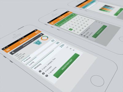 Food diary color concept flat ios app diary calendar concept render