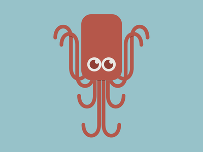 The friendly red octopus red symmetrical round lines simple octopus