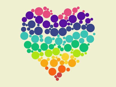 Colorful love heart colors gay love dots