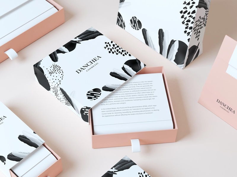 DANCHEA cosmetic packaging design luxury pink cosmetic packagedesign package packaging design typography illustration logo branding