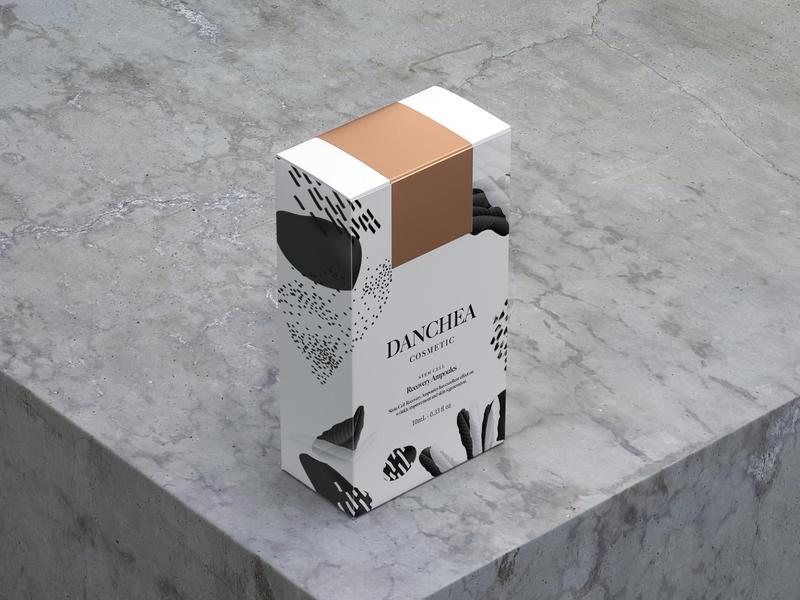 DANCHEA Cosmetic Packaging design black  white black cosmetic packaging cosmetic logo cosmetic package typography packaging design illustration logo branding
