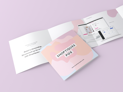 Shoptiques POS design fashion marketing pastel graphic design print square double gate fold gate fold pamphlet brochure