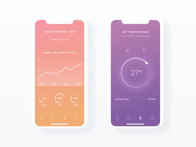 Helios visual design visual sleep app sleep alarm color gradient graphic app interface ui ux