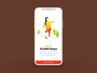 Arogya Fitness App UI - Start Walking screen