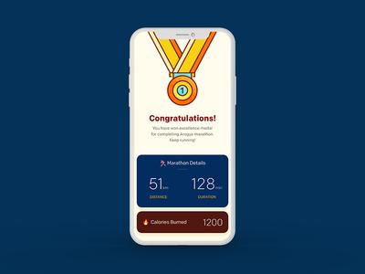 Arogya Fitness App UI - Marathon Success Screen