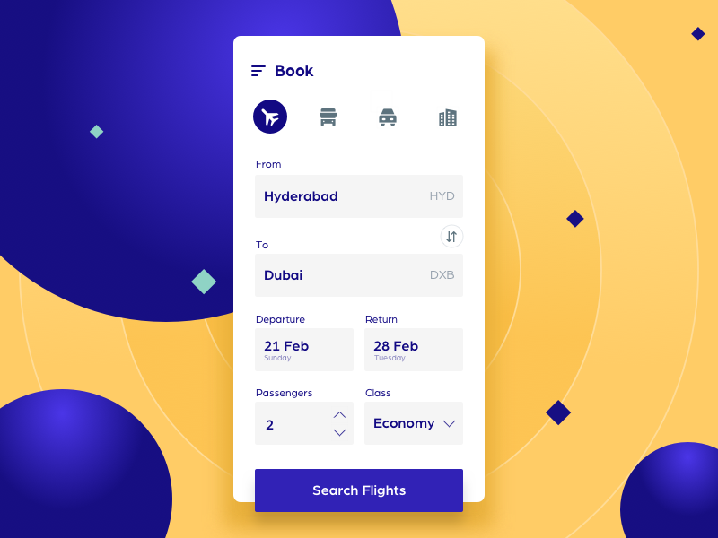 Flight booking app - UI creative minimal material mobile android user book design flat ux yellow blue appui ui ios booking flight app