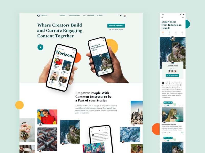 Frsthand collaboration images content story mobile landing branding exploration layout typography