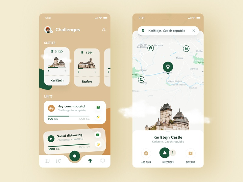 🏰 Castles navigation ios gamification challenges location routes cycling castles app