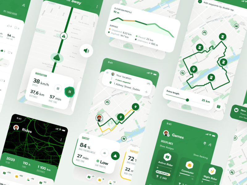 Cyclers App layout heatmap gamification badges poi cards android ios micromobility cycling app navigation