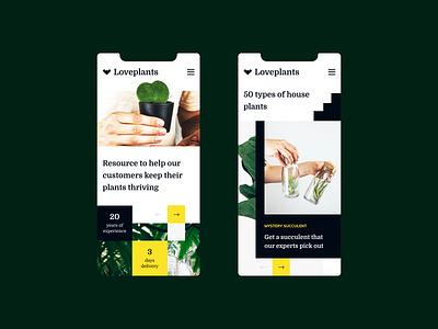 Loveplants mobile mobile website houseplants light plants layout typography