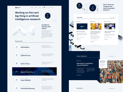 AI Center Homepage university reseachers science visual identity branding 3d shape artificial intelligence typography layout