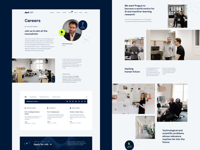 AI Center Careers & About job listing artificial intelligence university researchers careers branding typography layout