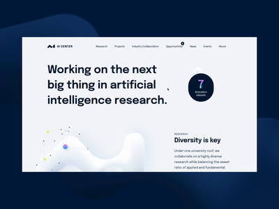 AIC Homepage Interaction interaction logo research artificial intelligence landing branding typography layout