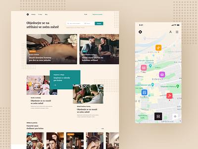 Booking Platform Website poi map platform search massage services babysitting barber booking landing typography layout