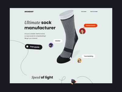 Sockeasy Hero landing page manufacturer socks typography playful composition layout