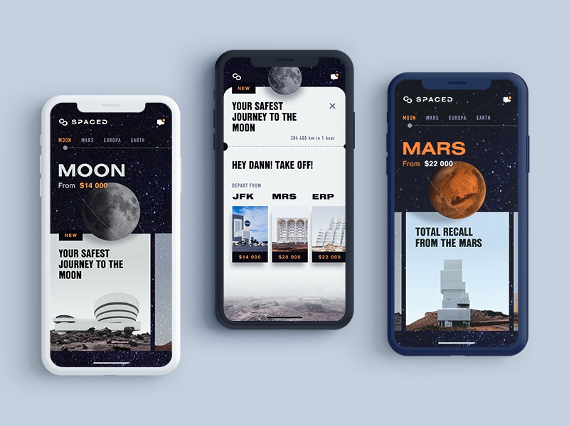 Spaced App Concept pt 2 iphone x booking ios travel spacedchallenge spaced space sci-fi moon app design dark