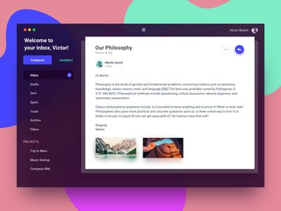 Different Email Client experiment different fancy colors inbox mail app desktop app client email