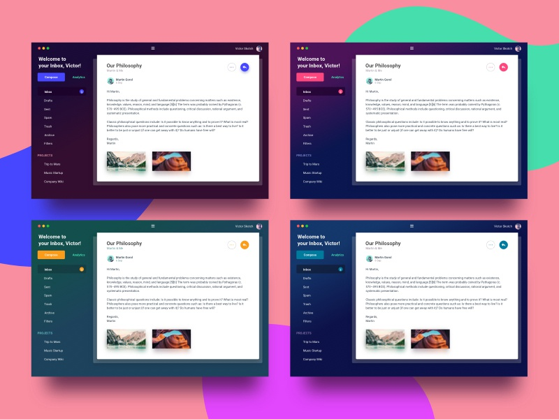 Colorways of Different Email Client