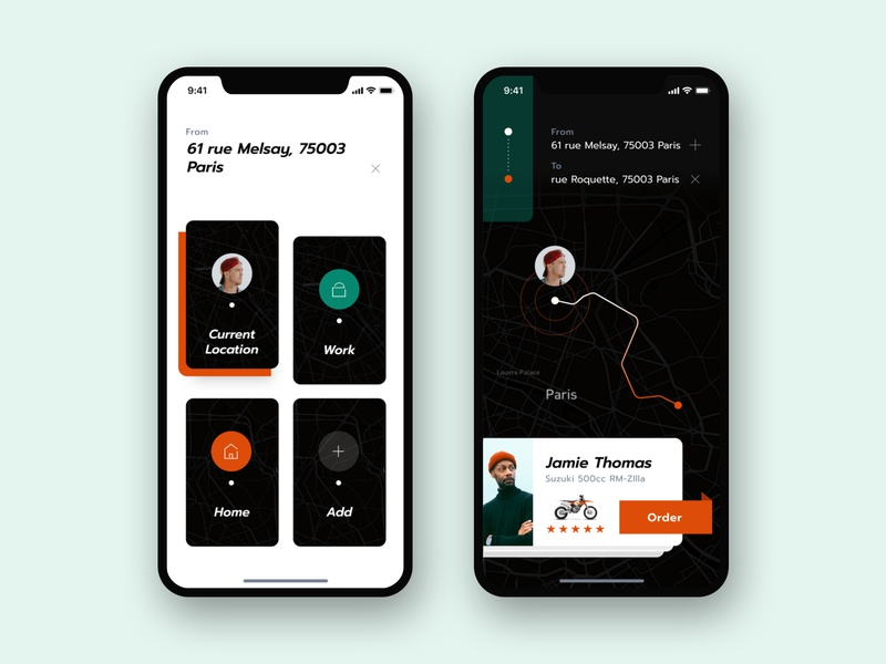 Transport App Concept app dark exploration ios typography layout transportation taxi motorcycle location address digital hail