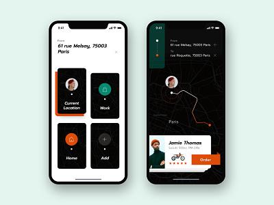 Transport App Concept app dark exploration ios typography layout transportation taxi motorcycle location address digital hail