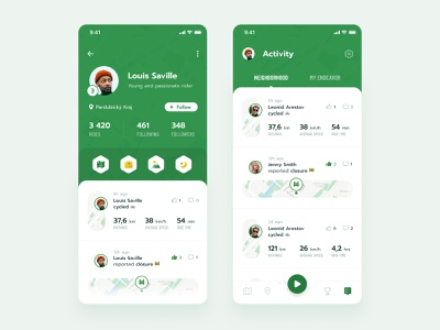 Profile & Activity navigation location badges card activity feed profile ios typography layout exploration app