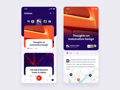 Articles & Detail article detail shapes articles location purple orange ui ios typography layout exploration app