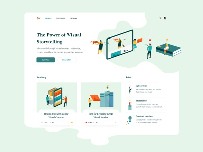 Discover blog tutorials academy articles storytelling clean layout exploration branding illustration typography