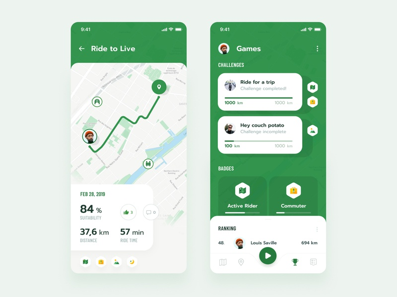 Ride To Live tracking route navigation ranking badges challenges games ios typography layout exploration app