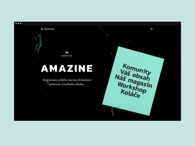 Amazine personal project scroll animation branding dark typography exploration community magazine landing page