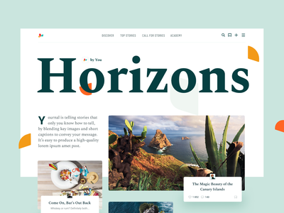 Horizons Magazine blog magazine horizons light landing typography layout branding exploration