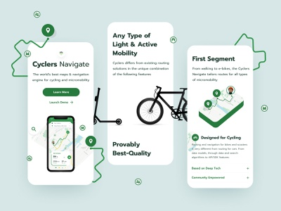 Cyclers Mobile Screens navigation design bike cycle illustration location ios landing typography branding app layout exploration