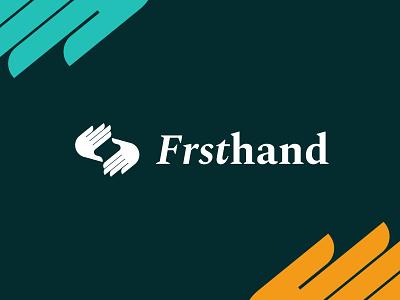Frsthand identity handshake hand clap camera scroll hands logo typography branding