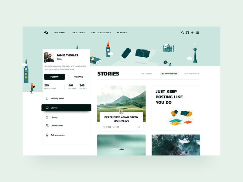 User Profile dashboard bookmarks stories illustrations user interface userprofile user exploration layout typography