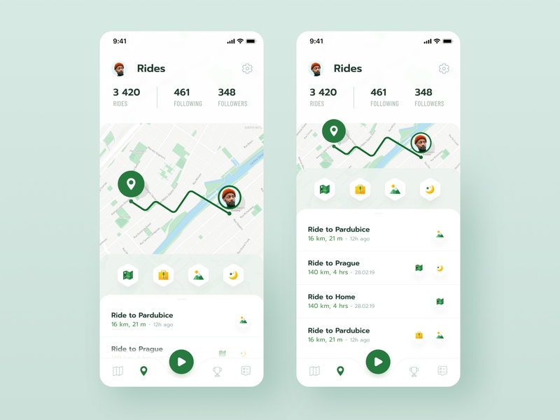 Rides profile badges floating button ios activity cycling navigation rides app