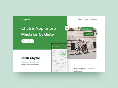 Urban Cyclers in Motion gamification navigation onscrollvideo app cycling location animation landing exploration layout typography