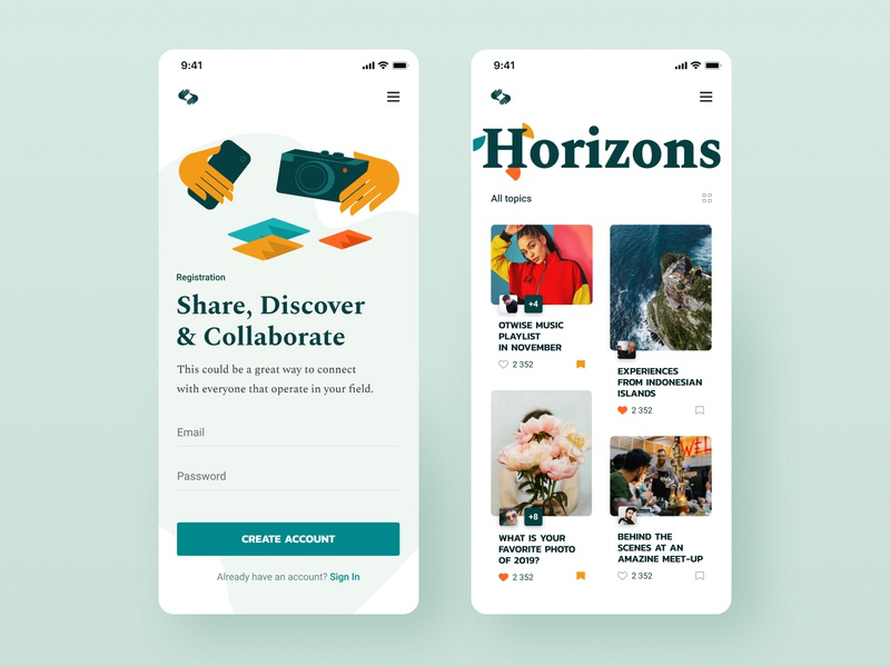 Horizons Mobile stories travel photos ios grid posts layout typography light app