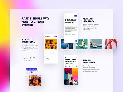 Content Pieces layout userflow location images stories app background blur gradient colors