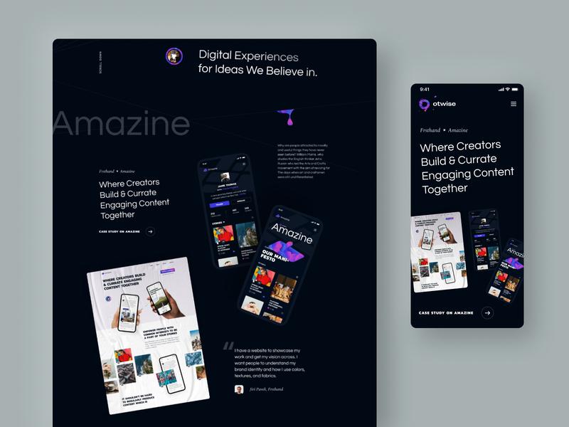 Case otwise tilted design dark app landing exploration branding layout typography