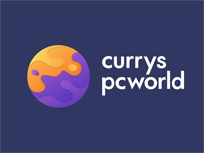 Currys/ PC World logo (REBOUND!) icon type ui gradient liquid new minimal logo flat fluid